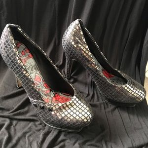 Iron fist. Disco ball heels. Size 9